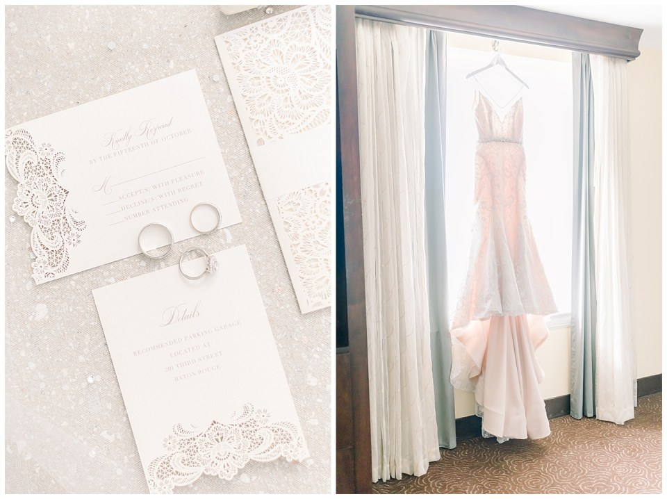 bright and airy wedding day details and wedding dress
