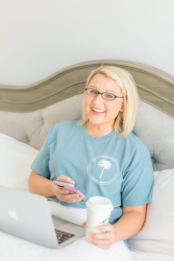 brittany bruce photography educator sitting in bed with coffee