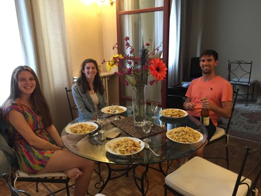 Family dinner at the correct Air BNB-note the amount of food on Sean's plate (next to Brendan)
