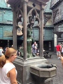 A magical fountain, operating with the use of an interactive wand.