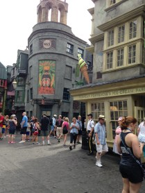 Weasley's shop on the right.