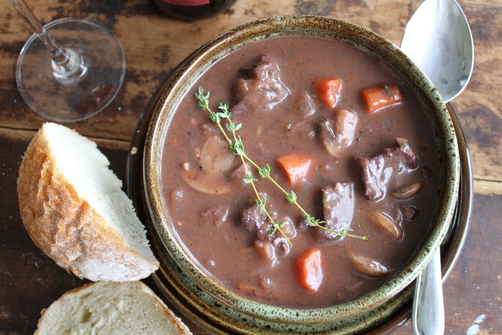This burgundy beef stew is a french classic. Simple and hearty, it warms you from the inside out! {Brittany's Pantry}