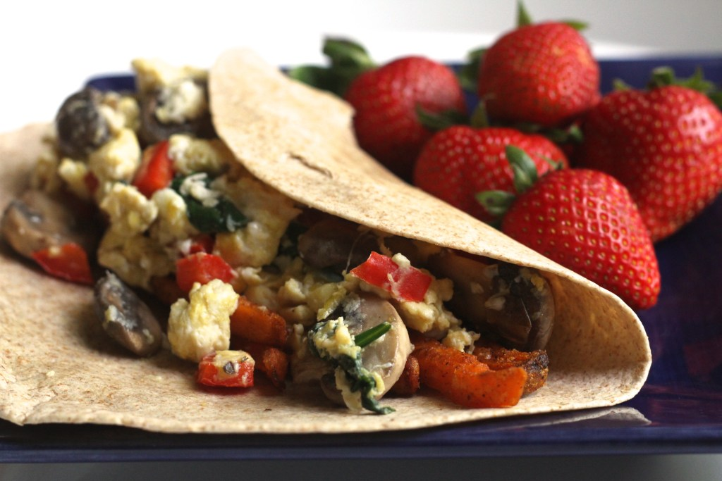 Sweet Potato & Veggie Breakfast Wraps are a great new way to use Alexia Potatoes! Recipe via Brittany's Pantry