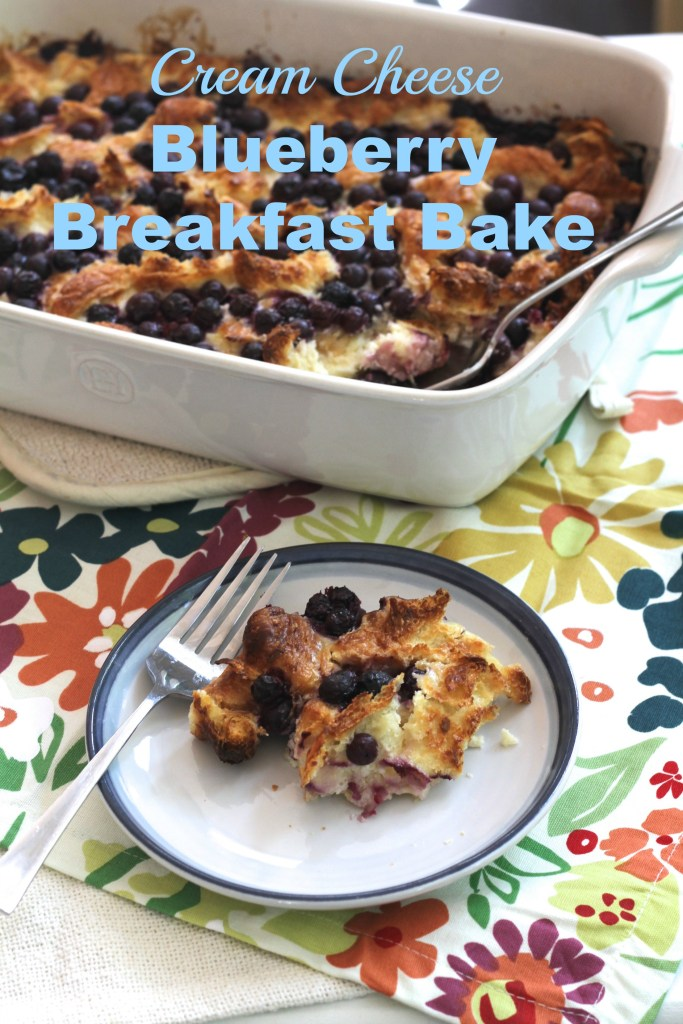 This Cream Cheese Blueberry Breakfast Bake can be made the night before and baked in the morning. The buttery croissants make it a cinch to throw together and SO delicious! {Brittany's Pantry}