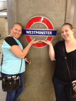 mom and I at the Westminster tube stop