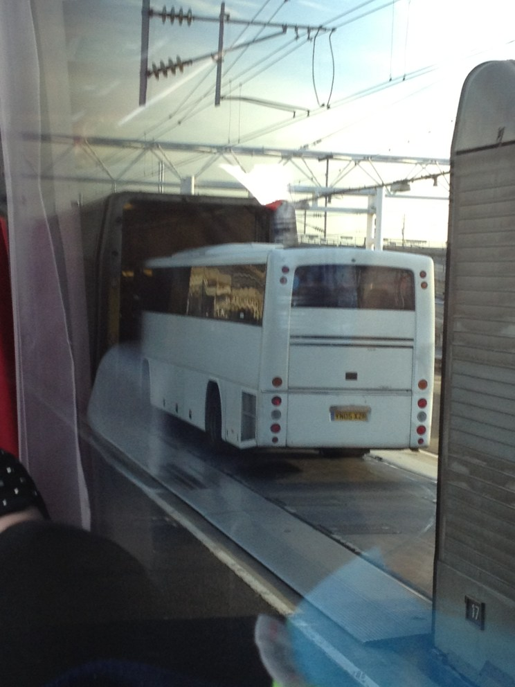 bus getting on Chunnel train