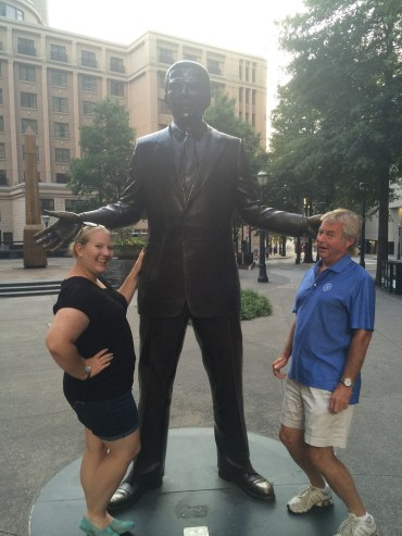 dad and I with the statue