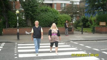 dad and I being the Beatles at Abbey Road