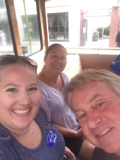 mom, dad, and I on the trolley tour