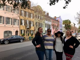 Sarah, Gabby, Dianna, and me in front of Rainbow Row (we totally look photoshopped! haha!)