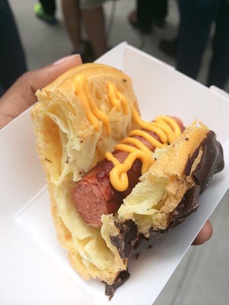 Bacon wrapped hot dog éclair