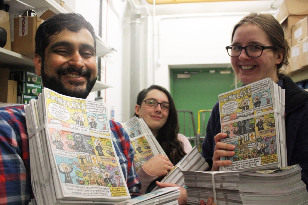 Vivek Nityananda, Britt Coxon and Lydia Wysocki with receiving the delivery of Spineless: The Newcastle Science Comic (2015).