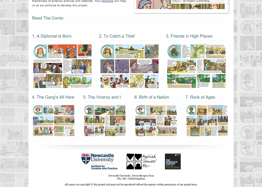 Gertrude Bell Comics Website, showing the comic chapter selection area.