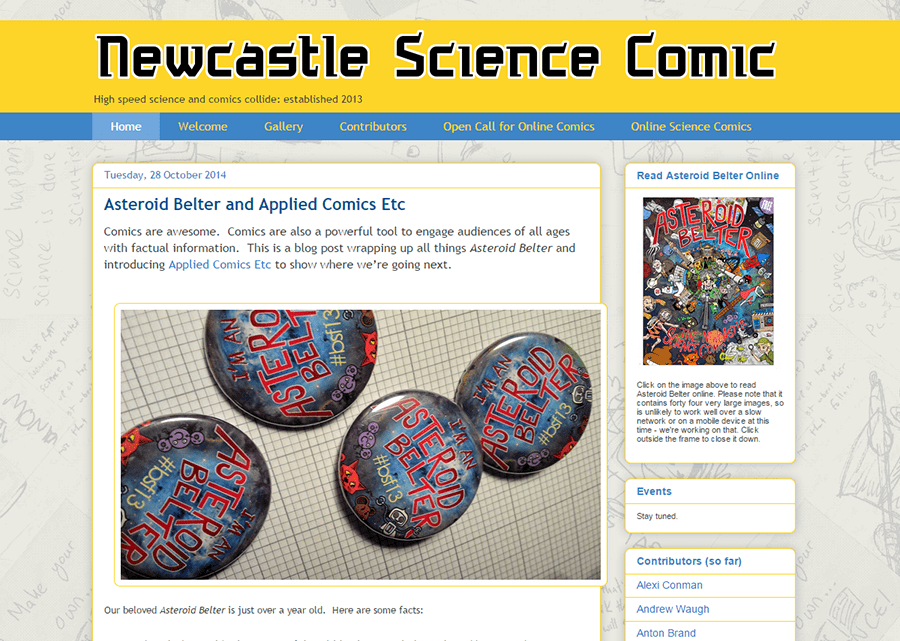 Newcastle Science Comic project blog homepage.