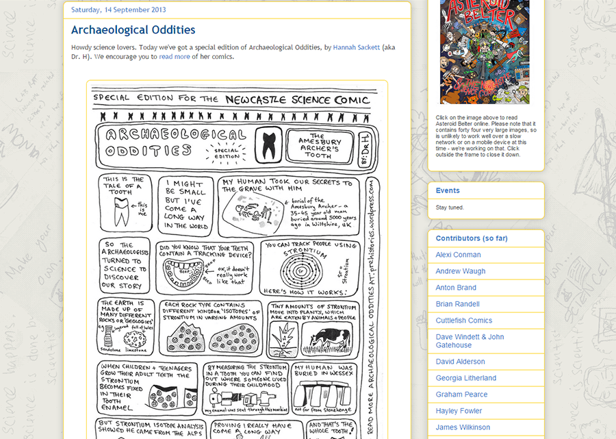 Newcastle Science Comic project blog post Archaeological Odities.