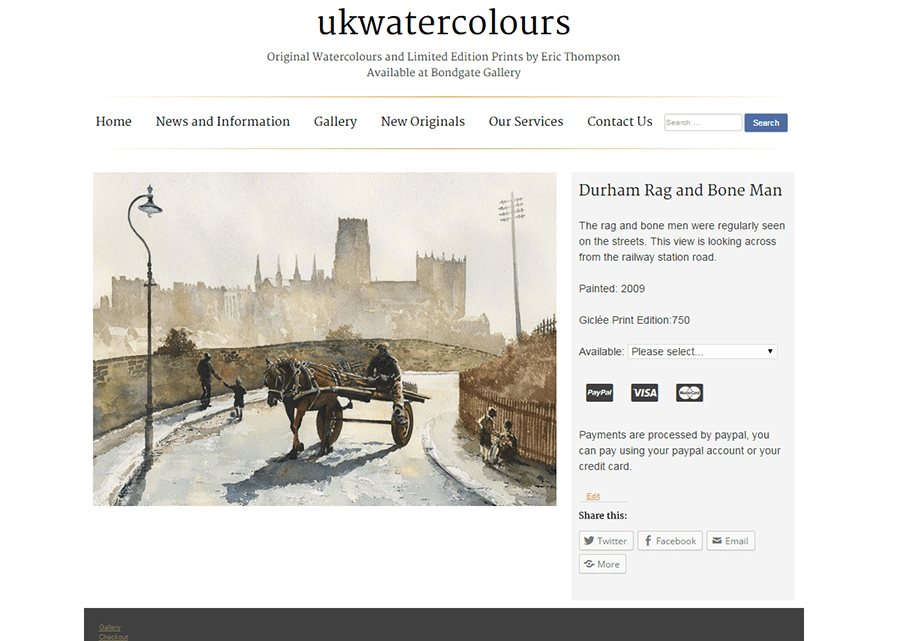 ukwatercolours website screenshot showing the painting preview and purchase page