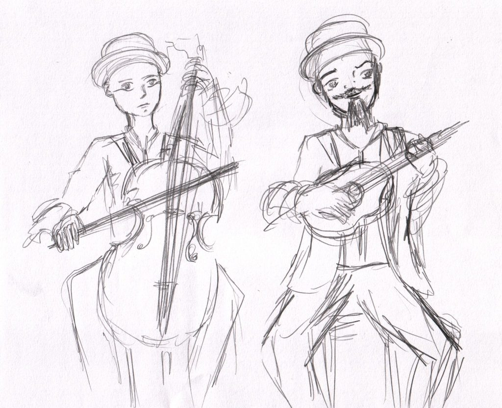 A sketch of two musicians, one playing the chello, the other playing a ukulele.