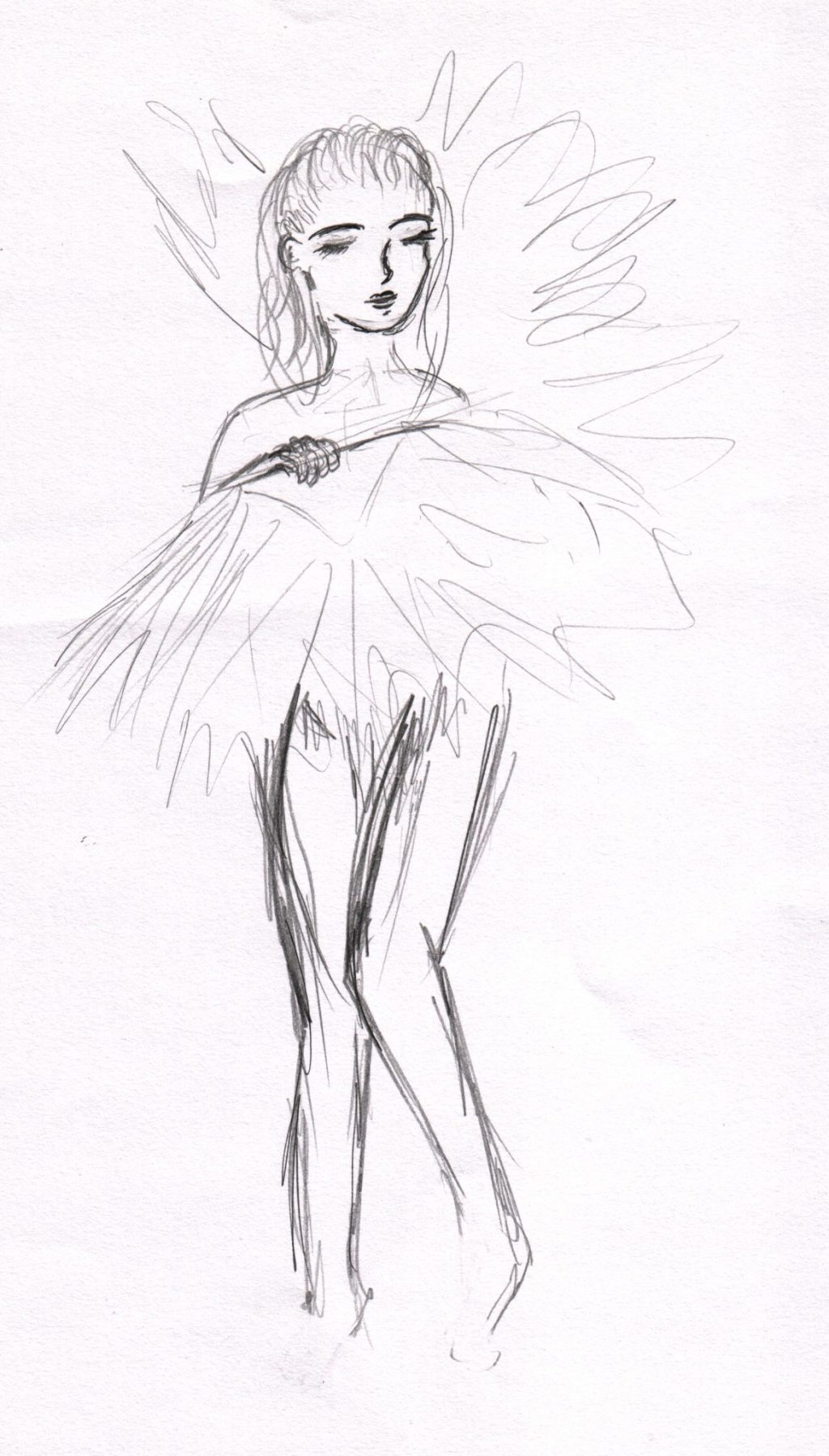 A sketch of a woman performing a fan dance, the fan is held infront of her obscuring most of her body, her legs, head and shoulders are visible.