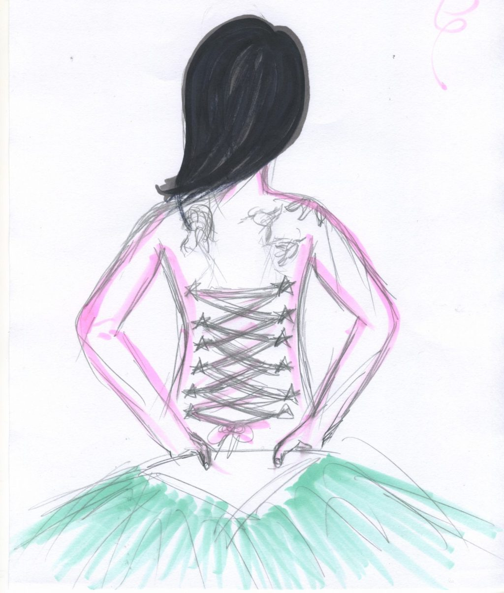 A sketch of a woman performing a fan dance, the fan is held low on her back revealing her tattoos. The sketch has been lightly coloured.