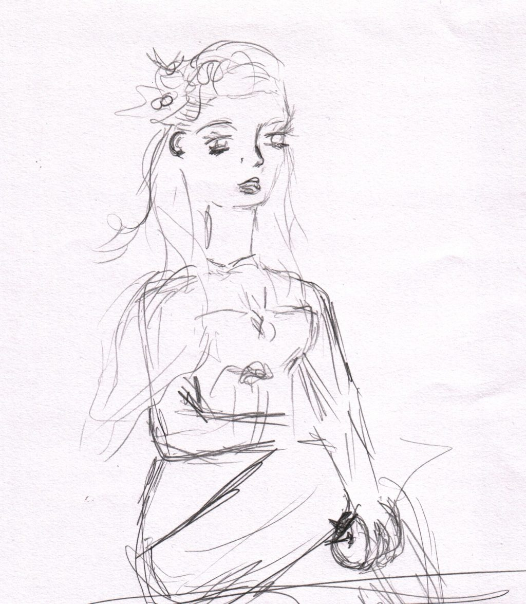 A sketch of a woman bending down to pick up an apple, there is a flower in her hair.