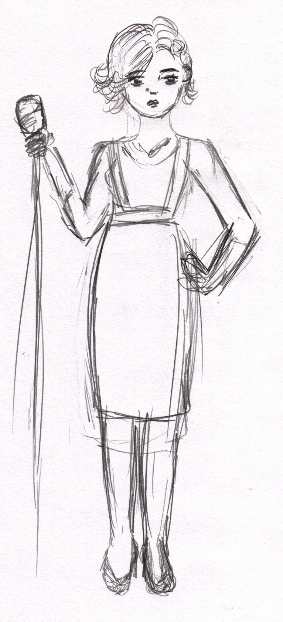 A sketch of one of the performers at Dr Sketchy's Christams, the singer stands next to her microphone, she wears a tartan pinafore.