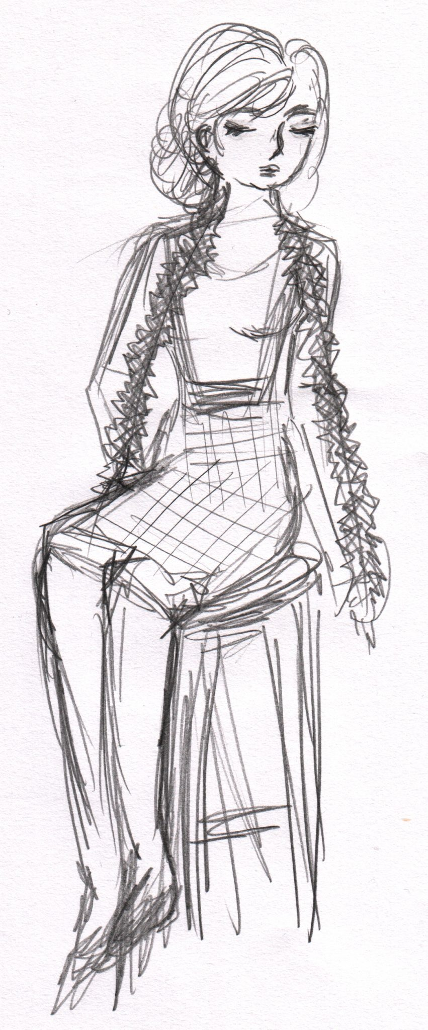 A sketch of one of the performers at Dr Sketchy's Christams, the singer sits with tinsel draped over her shoulders, she wears a tartan pinafore.