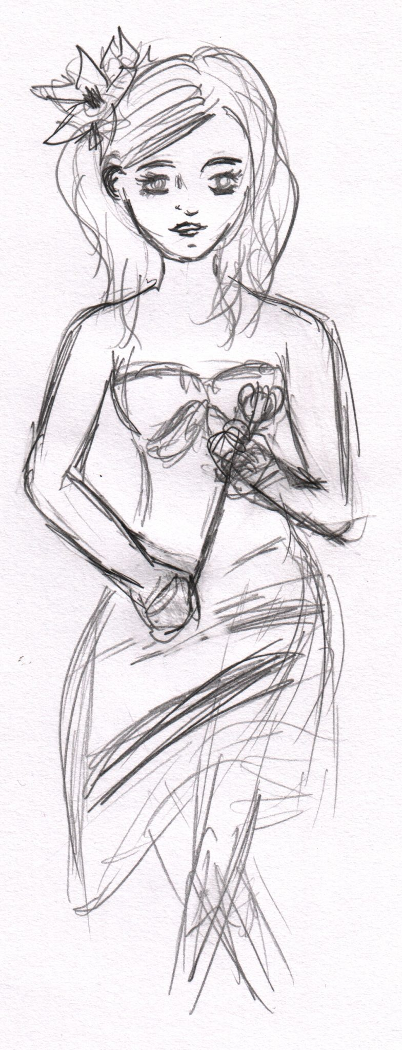 A sketch of a woman sat holding a rose, there is also a flower in her hair.