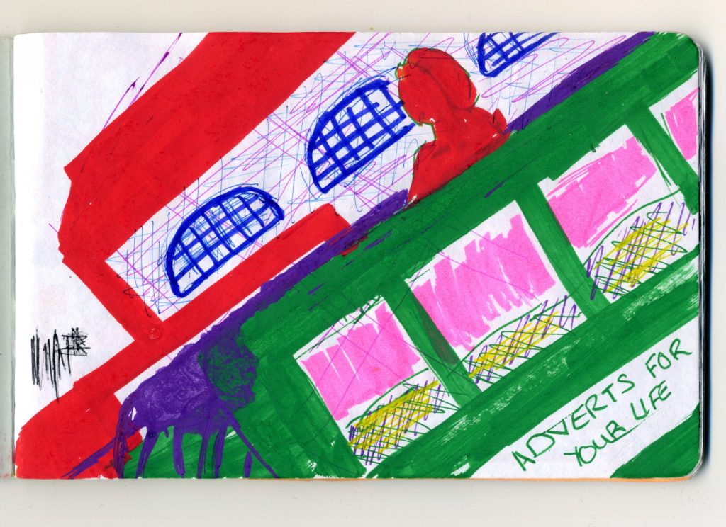 An abstracted colourful sketch representation of buildings and advertising billboards.