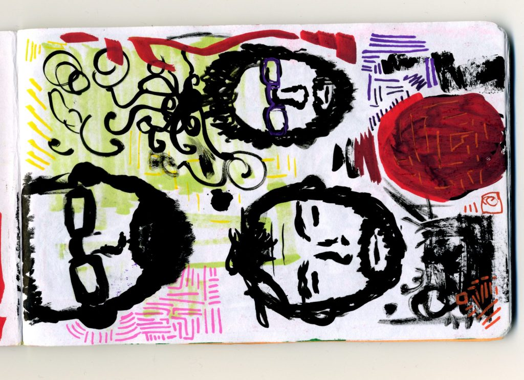 A brush pen sketch of male faces.