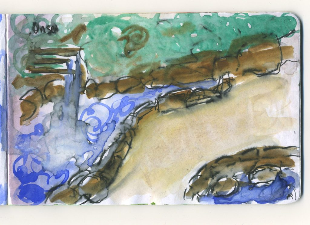 A journal sketch of a view of one of the side streams of the Kamo River.