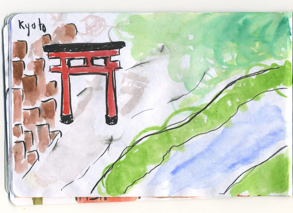 A journal sketch from Japan of Kyoto, the view along the Kamo river.