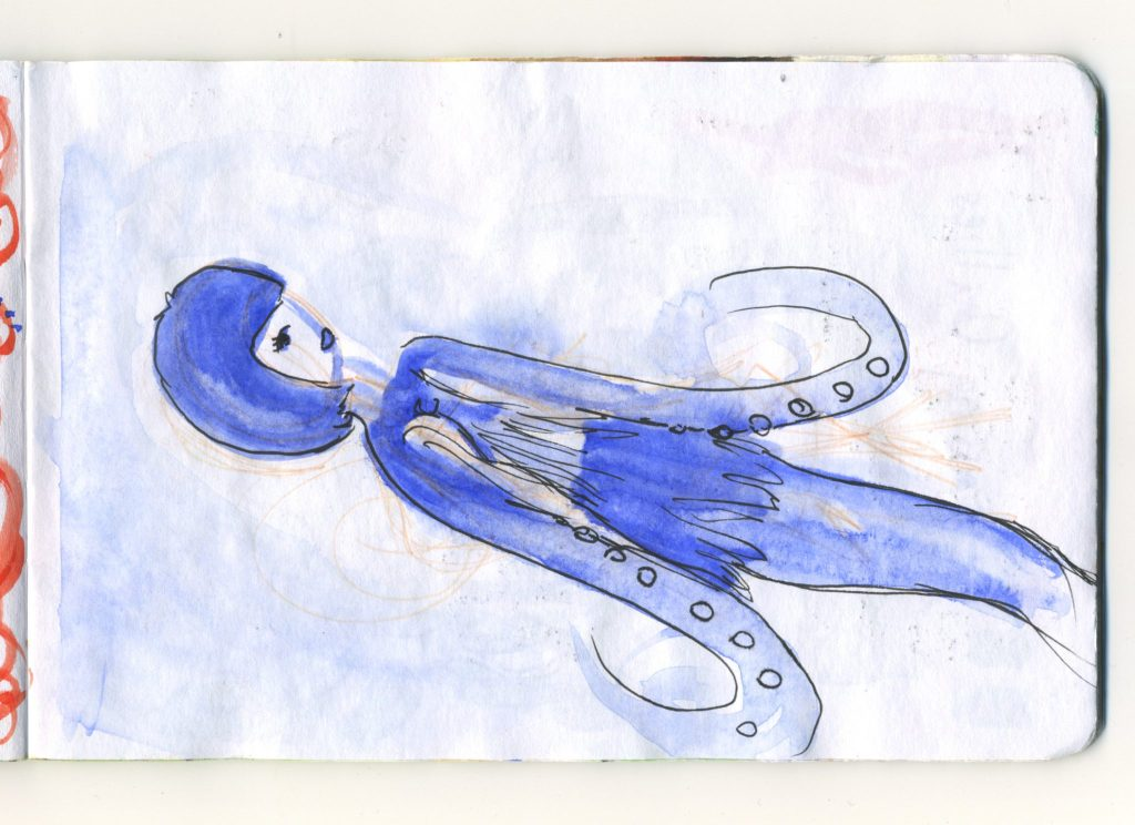 A watercolour sketch of a woman with tentacle hands in blue. A variation of a mermaid.