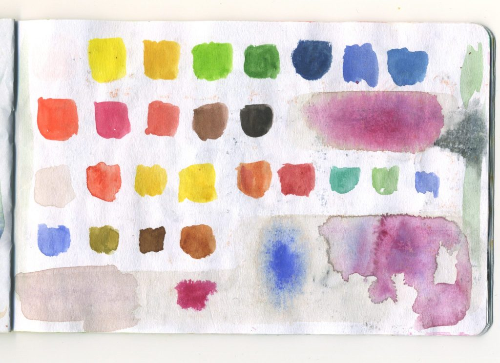 A page of watercolour swatches.