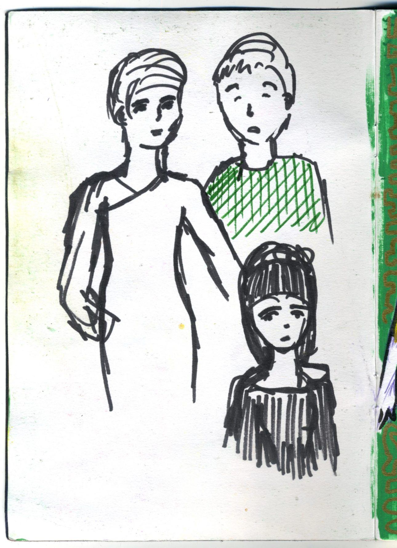 A brush pen sketch of three figures with different hairstyles.