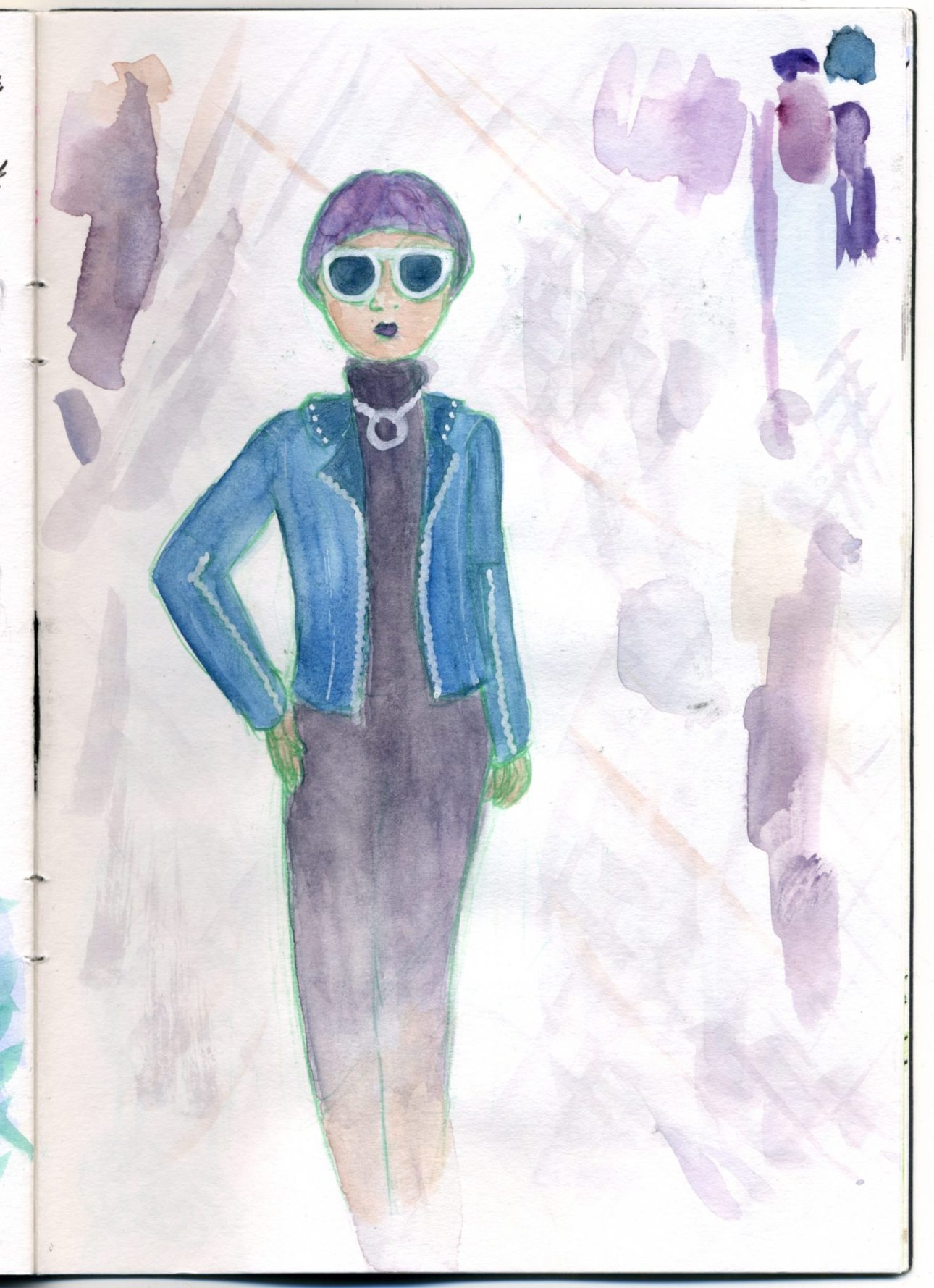 A watercolour sketch of a woman with short purple hair in a black dress that fades to transparent near the knee and a blue jacket.