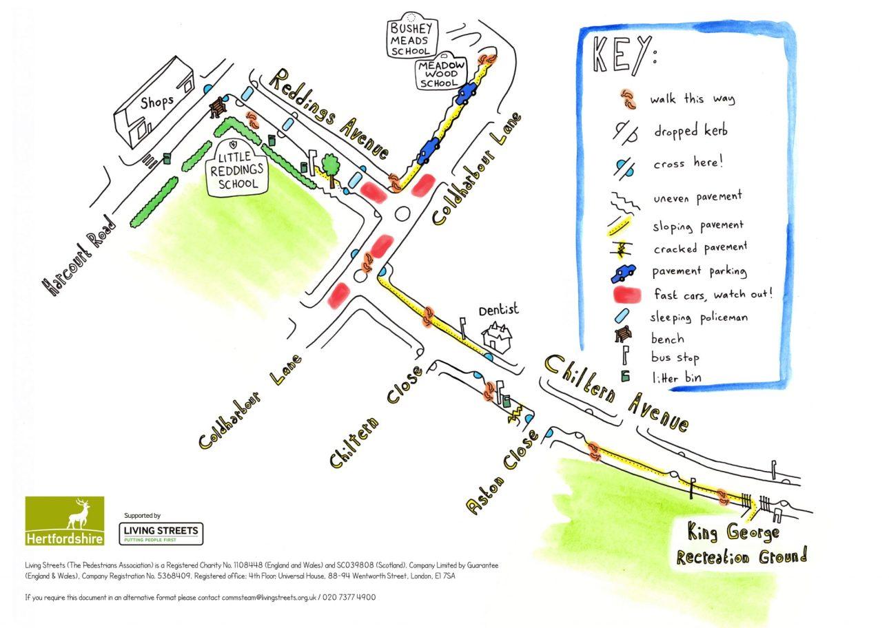 Meadow Wood school Walking map with artwork by Mike Duckett.