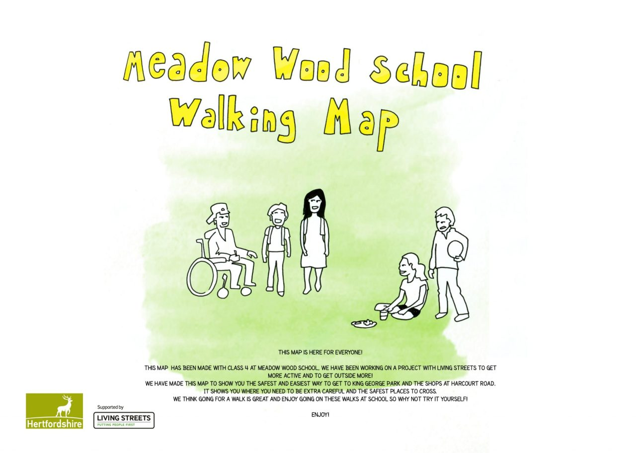 The reverse of the Meadow Wood school Walking map with artwork by Mike Duckett.