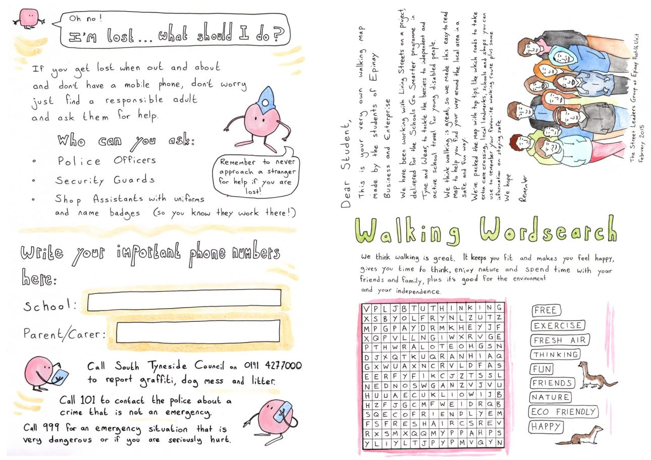 The reverse side of the school walking map with activities and information. Art by Mike Duckett.