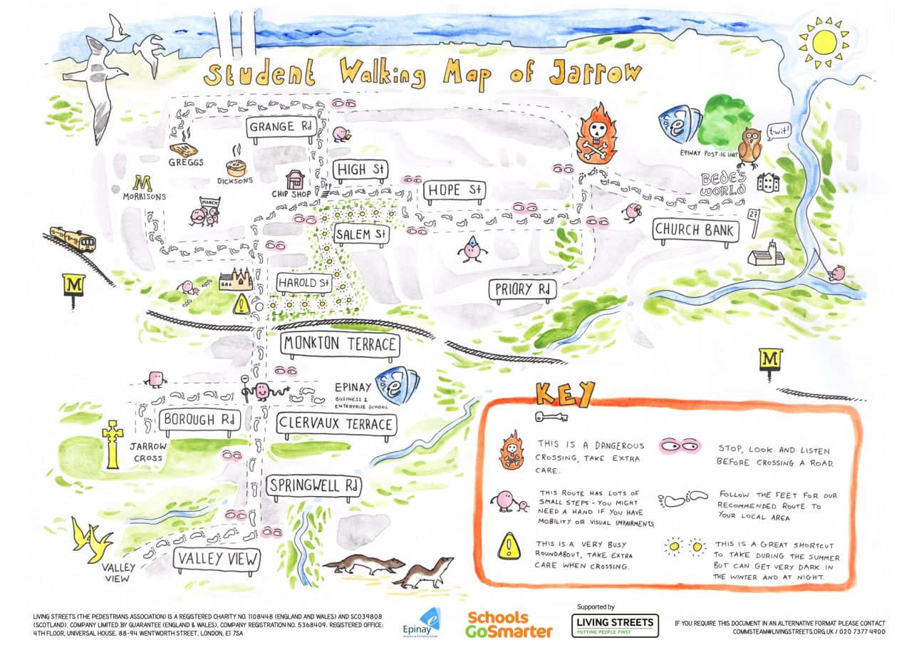 A watercolour style school walking map showing safe walking routes around the area for children, including crossings. Art by Mike Duckett.