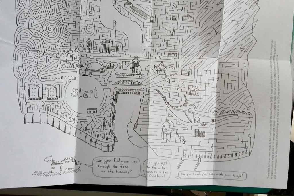 A photo of the maze side of the Ouseburn Late Shows zine.
