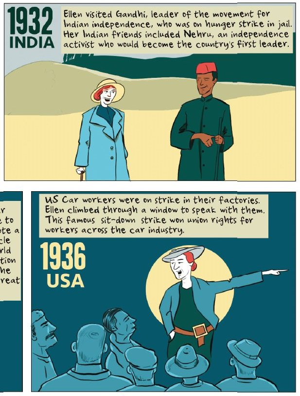An extract from Freedom City Comics about Ellen Wilkinson