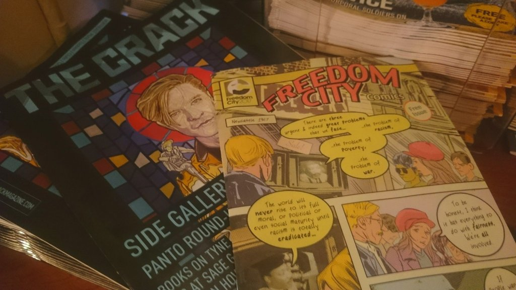 A photo of Freedom City Comics in print, included in The Crack Magazine, a local entertainment events listing magazine in Newcastle.