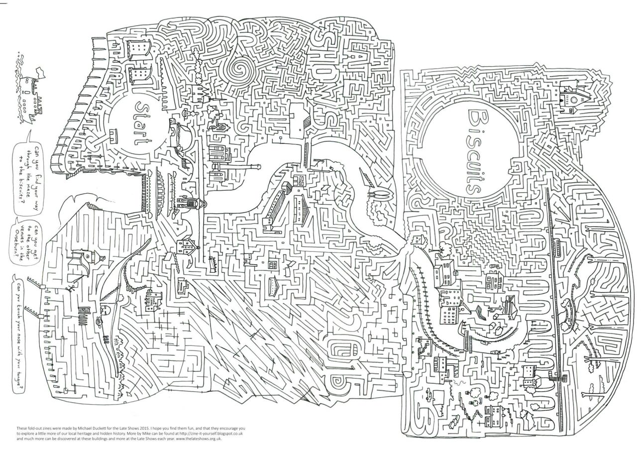 A maze illustration by Mike Duckett based around the Ouseburn Valley in Newcastle upon Tyne, created for the Late Shows.