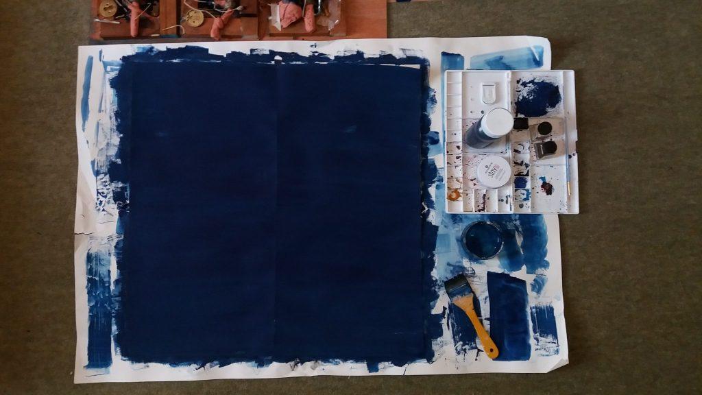 Observations progress image, deep blue paint