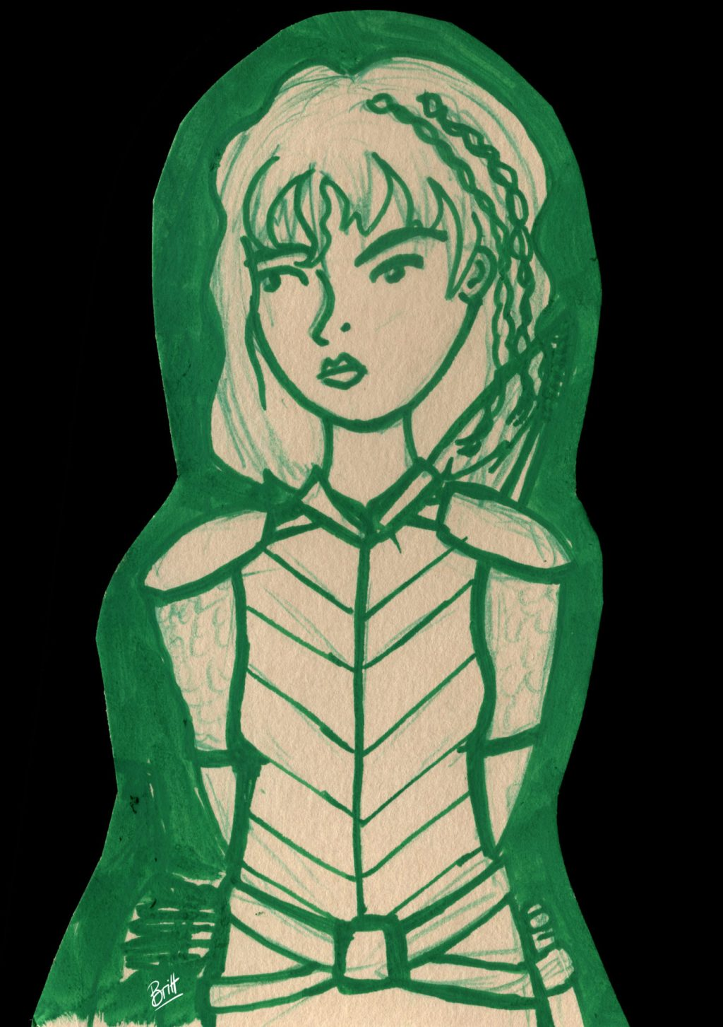 Berna, one of my D&D characters, a ranger, looking serious, drawn in green.