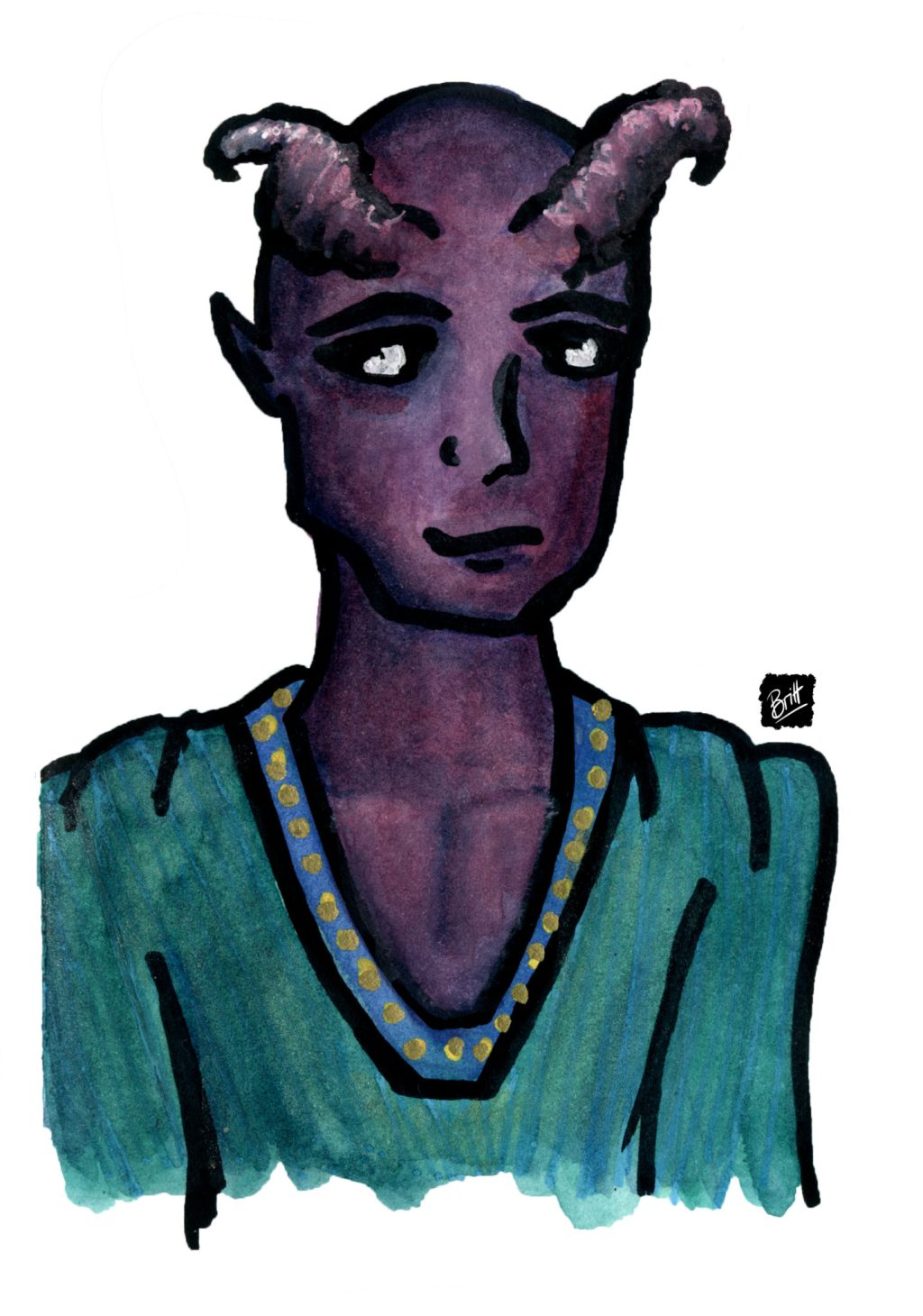 Baron Whitehorn, a character from my D&D campaign, a tiefling with purple skin and horns wearing a light cotton shirt in green.