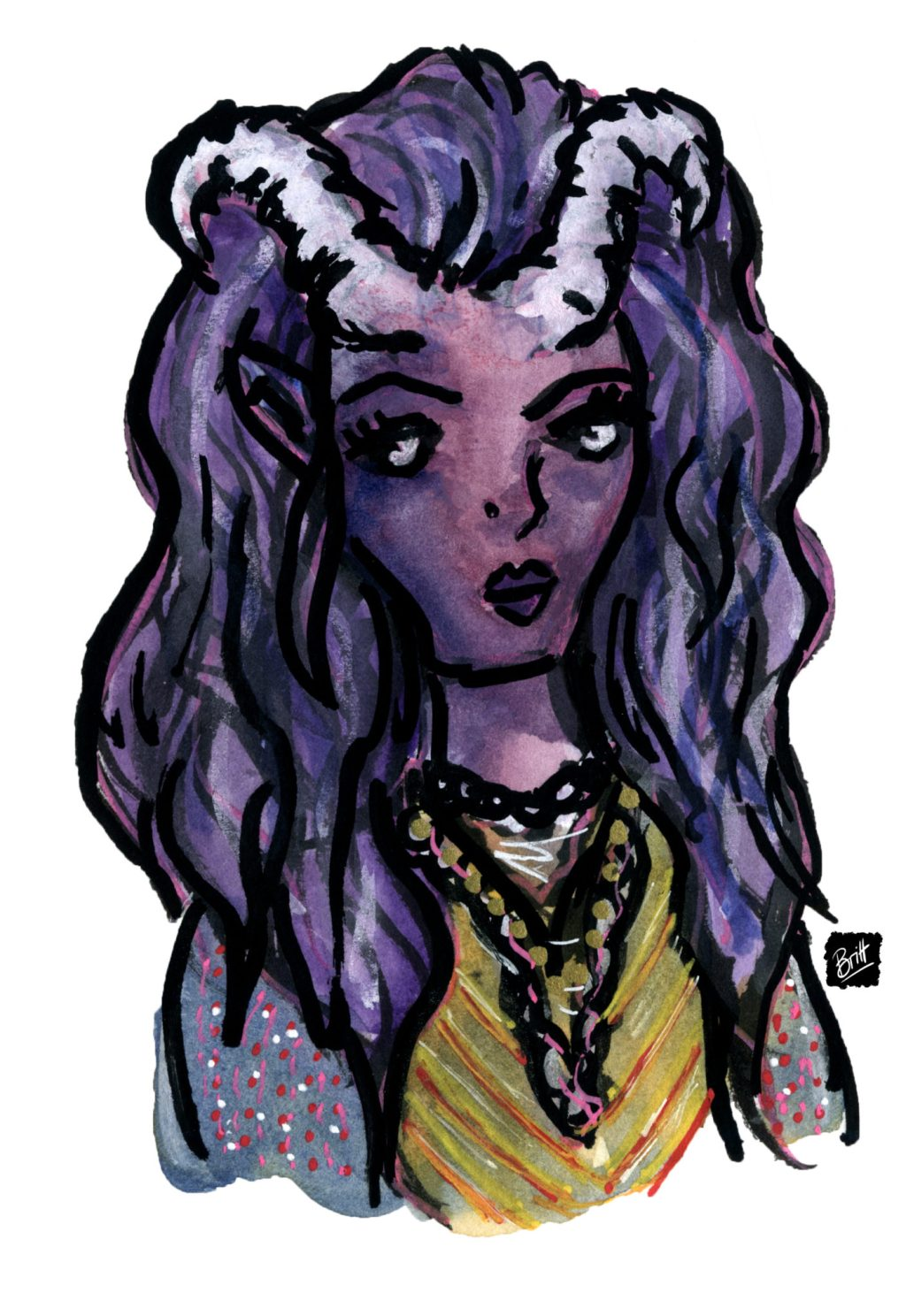 Baroness Whitehorn, a character from my D&D campaign, a tiefling with purple skin and white horns wearing a light silk dress in yellow.