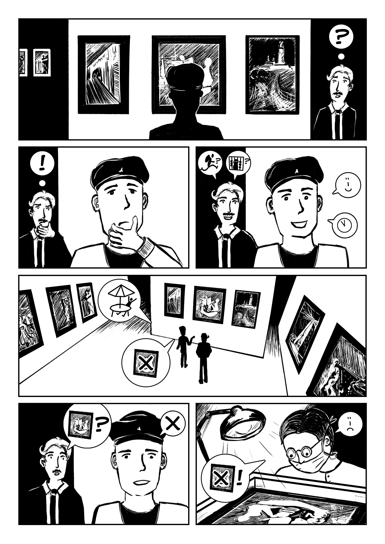 Holiday Heist Comic page 1, a comic about two detectives tracking down an art thief.