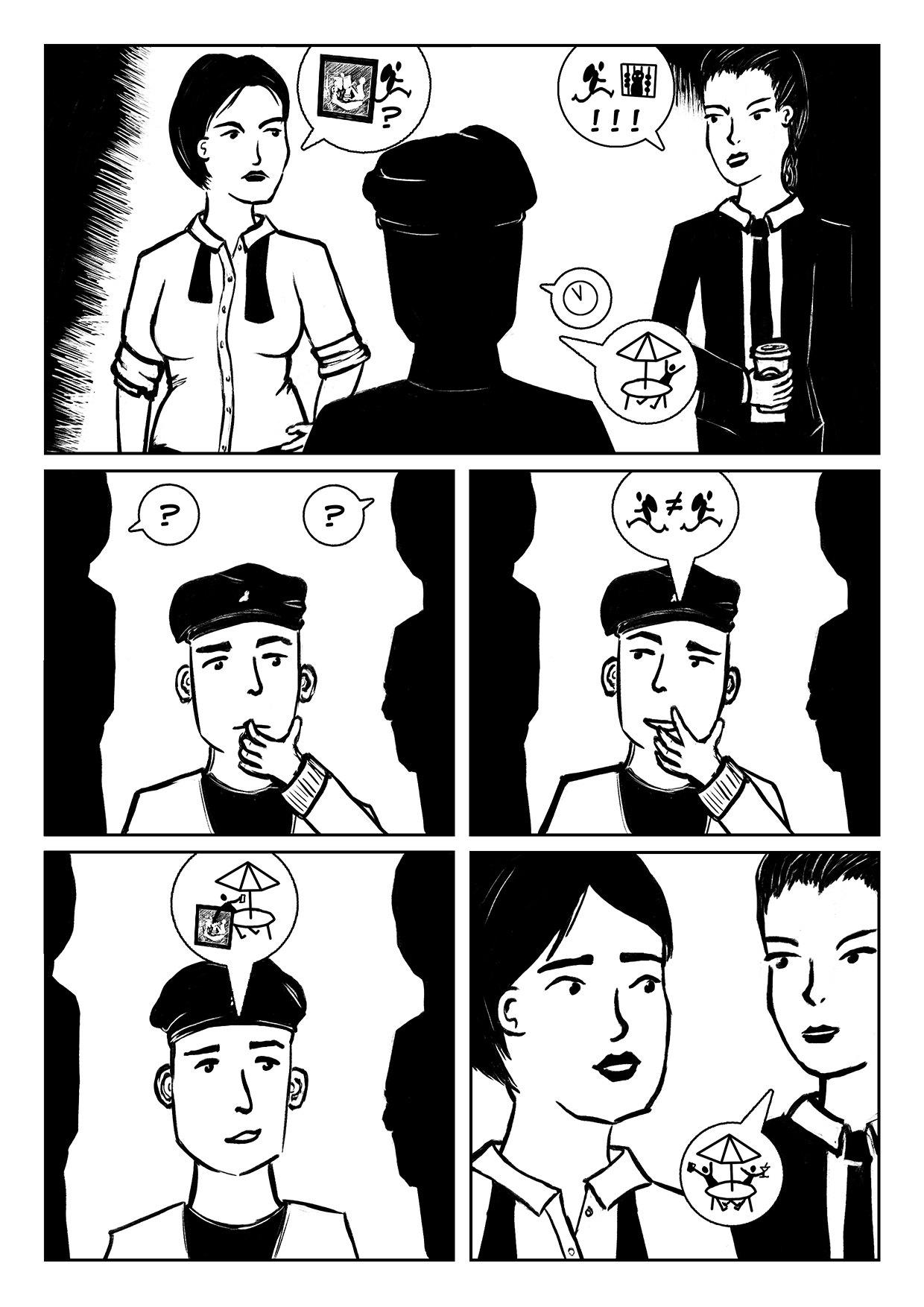 Holiday Heist Comic page 3, a comic about two detectives tracking down an art thief.