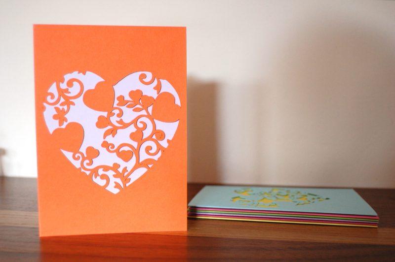 Mini Floral Vine Hearts Card in orange and lilac